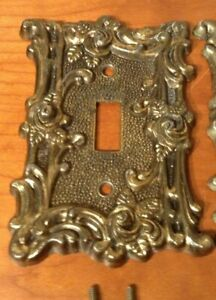1 Vintage Outlet Light Switch Plate Cover Rose Cast Metal American Tack Howe Co
