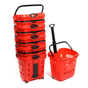 Red Plastic Rolling Shopping Basket Cart Utility Supermarket 60gal Lot Of 10 New