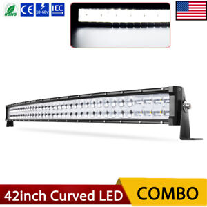 42 Inch 540w Curved Dual Row Led Light Bar Combo Truck Offroad 9d Atv Suv 40
