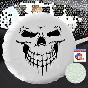 White Spare Tire Cover Wheel Cover For Jeep Liberty Cherokee 29 30 31 Skull L