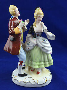 Vintage Made In Japan Porcelain Victorian Courting Couple Fan Bustle Dress Gold