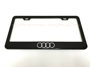 4 Ring Logo Black Metal License Plate Frame Tag Holder With Caps