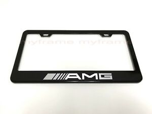 Mbzamg Black Metal License Plate Frame Tag Holder With Caps