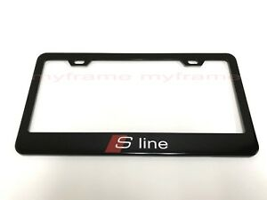 S Line Sportline Black Metal License Plate Frame Tag Holder With Caps