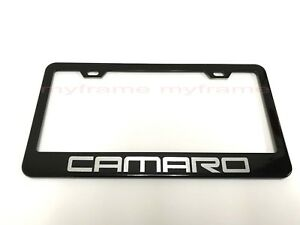 Camaro Black Metal License Plate Frame Tag Holder With Caps