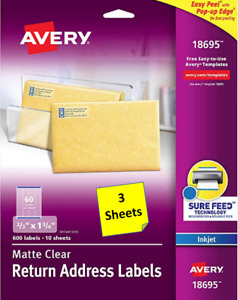 3 Sheets Avery 18695 Matte Clear Return Address Labels 2 3 X 1 3 4 Inkjet