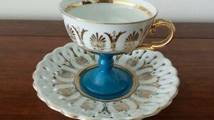 Vtg Cup Saucer Capodimonte Footed Cup Blue Gold Hand Painted Italy