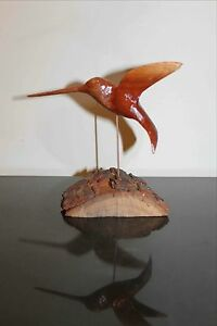Hand Carved Wooden Hummingbird
