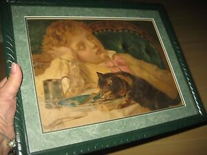 Vtg Victorian Sleeping Boy Kitty Print Framed Picture Cat Plate Antique 12x15
