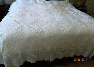 Antique American Farm House Crocheted Bed Cover Heirloom Ivory Date 1890 1900