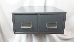 Vtg Steel Master Metal Grey Library 2 Drawer File Card Catalog Stand Alone Stack