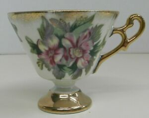 Vintage Gold Plated Floral Tea Cup Pearlized Japan