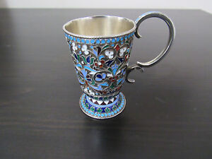 Antique Imperial Russian Silver Enamel Cup 19th Cen Moscow