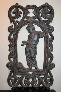Architectural Cast Iron Wall Garden Hanging Plaque 26 X 16 Very Nice