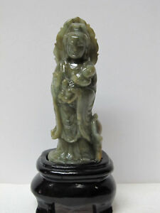 Fine Chinese Jade Carved Guanyin Hand Hold Baby Figurine With Stand