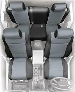 Neoprene Front Rear Seat Covers Black And Gray 07 18 Jeep Wrangler