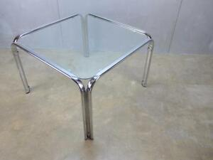 Mid Century Italian Modernist Glass Chrome Futurist Tricom Coffee End Table A