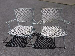 2 Vintage Russell Woodard Brown Jordan Era Mid Century Steel Patio Arm Chairs