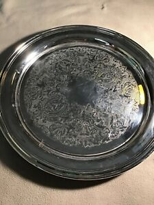 Vintage Oneida Round Silverplate 12 1 4 Serving Tray Platter