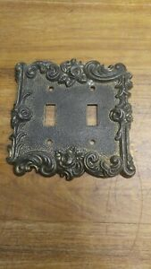 Vintage American Tack Hardware Brass Lightswitch Double Cover 1967