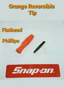 Orange Snap On Tools Pocket Screwdriver Reversible Tip Pocket Screwdriver W clip