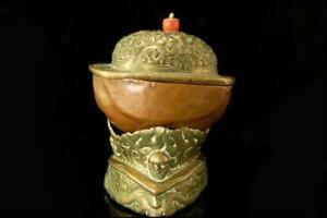 Old Tibetan Copper Repousse Brass Kopele Skull Cover Cup Stand D107 20