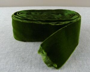 5 5 Yards Vintage Forest Green French Silk Velvet Ribbon 2 Wide