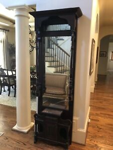 Antique English Hall Tree Stand With Mirror And Small Table