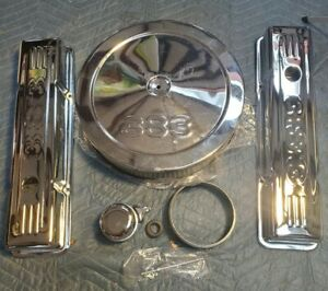Chrome Sb Chevy Dress Up Kit 383 Stamped Logo Short Valve Covers Air Cleaner Sbc