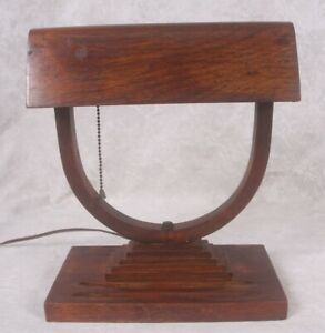 Vintage Arts Crafts Mission Wooden Banker S Table Lamp Craftsman Style