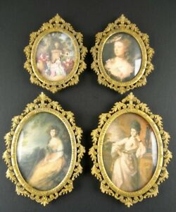 4 Vintage Ornate Oval Metal Frames Convex Italy Gold Finish