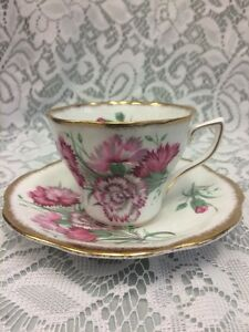 Rosina Bone China Teacup Saucer Dainty Scalloped Gold Edge Pink Carnations