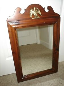 Ethan Allen 43 1177 Antique Pine Old Tavern 18x29 Wall Mirror W Eagle Excellent
