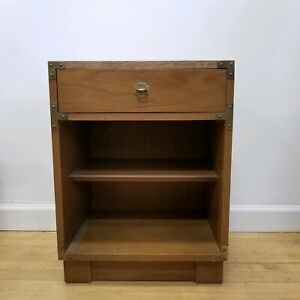 Rare Mid Century Drexel Campaigner Walnut Nightstand Campaign Style