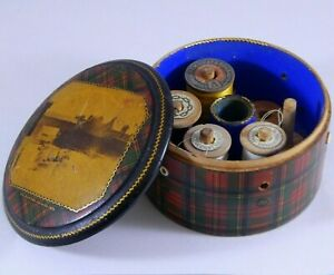 Antique Prince Charlie Tartanware Sewing Thread Spool Box Mauchline Photo Lid