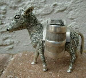 Antique Sterling Silver 925 Miniature Donkey Carrying Baskets Toothpick Holder
