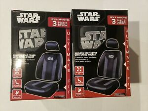 Star Wars Sideless Seat Cover 3 Piece Cargo Pocket Black gray New Disney 2 Boxes