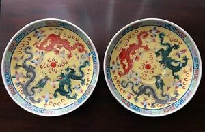 Pair Of Old Antique Chinese Porcelain Plates With Dragons Marked On Bottom