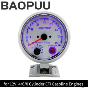 3 75 Blue Led Car Tachometer Gauge White Racing 0 8000 Rpm Meter Shift Light