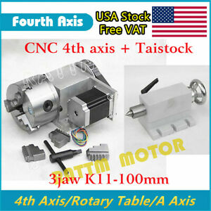 Rotary Table 4th Axis 3 Jaw K11 100mm Chuck tailstock For Diy Cnc Machine usa