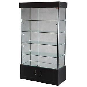 Glass Tower Jewelry Showcase Halogen Light Assembled Display Case Rack Black New