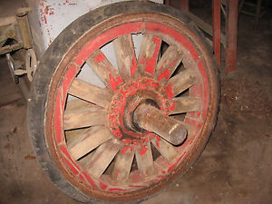 Rare Vintage Set Of 4 Solid Hard Tire Wooden Spoke Trailer Truck Wheels Circus