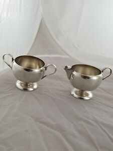 Bmc Silver Plated Open Sugar Bowl And Creamer Container Cups Excellent