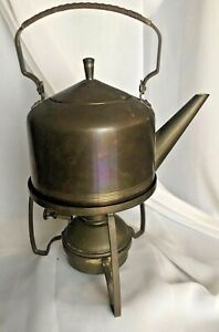 Antique F R Fischer Goeppingen Germany Brass Teapot On Warming Stand