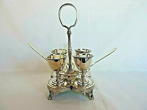 Silver Plate Egg Cruet Set 4 Egg Cups Spoons Stand James Deakin Sons 1870s