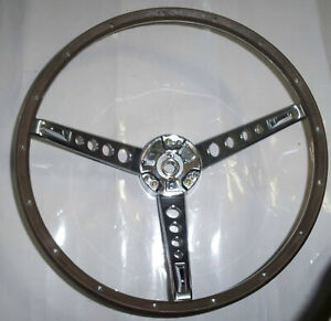New 1967 Ford Mustang Deluxe Wood Steering Wheel Original Style W Horn Ring