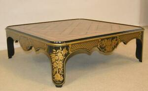 Asian Style Black Laquer Coffee Table By Baker Furniture Gold Floral Details