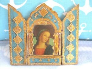 Lovely Turquoise Blue Gilt Tole Wood Italian Florentine Madonna Triptych Icon