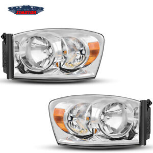 Fit 2006 2008 Dodge Ram Aftermarket Replacement Headlights Headlamps Clear Lens