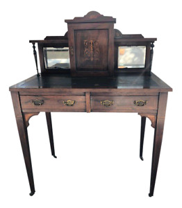 Antique Rosewood Ladies Writing Desk Brass Handles Marquetry Inlay Leather Top